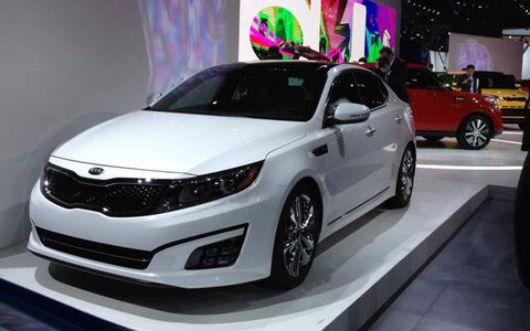 The sporty looking 2014 Kia Optima at the New york auto show.