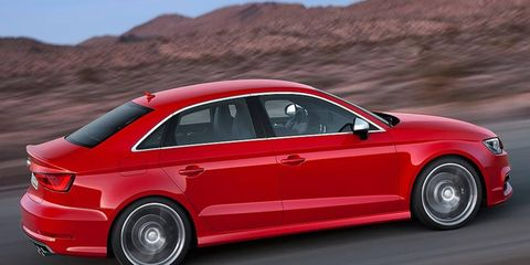 The Audi S3 sedan is equipped with a turbocharged 2.0-liter four-cylinder engine rated at 296 hp.