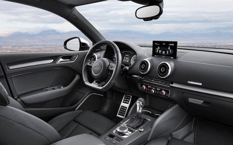 The cockpit of the Audi S3 sedan.