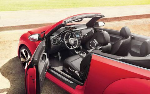 Interior accommodations of the 2013 Volkswagen Beetle Turbo convertible are luxurious but rear-passenger room is limited.