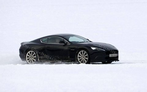 Spy shots show the new Aston Martin DB9 replacement testing.