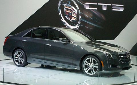 The Cadillac CTS on the floor of the New York auto show.