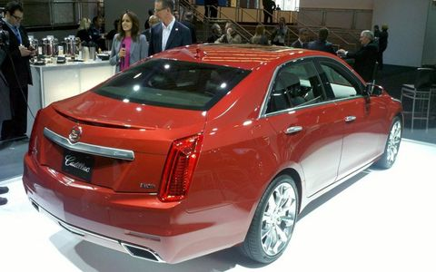 A view of the Cadillac CTS rear from the New York auto show.