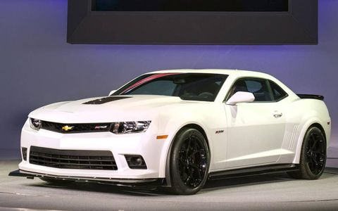 The 2014 Chevrolet Camaro Z/28 on stage at the New York auto show.