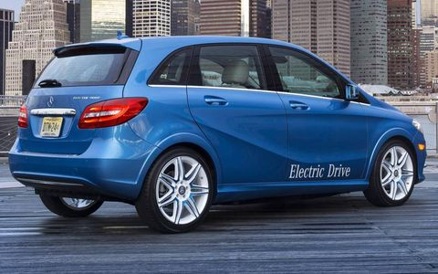 A rear view of the 2014 Mercedes-Benz B-class Electric Drive.