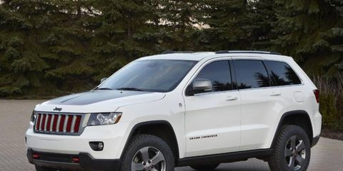 the trailhawk is trimmed in mineral gray, stone white and red