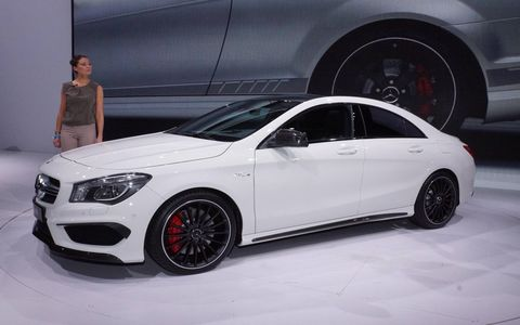 A side view of the 2014 Mercedes Benz CLA45 AMG at the New York auto show.