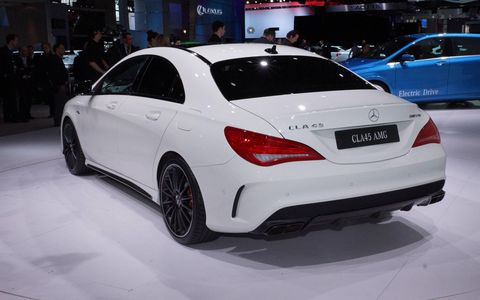 The rear of the 2014 Mercedes Benz CLA45 AMG at the New York auto show.