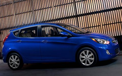 A side view of the 2012 Hyundai Accent.