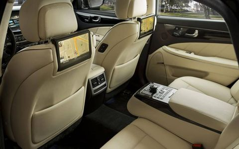 In addition to the center counsel control panel, the 2014 Hyundai Equus includes two rear screens.