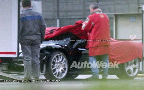 A glimpse of a prototype of the upcoming Ferrari F450.