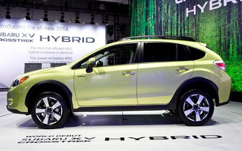 One year after launching the Subaru XV Crosstrek crossover, a hybrid version debuted at the New York auto show on Thursday.