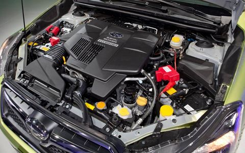 Power comes from a 2.0-liter four-cylinder horizontally opposed engine, rated at 148 hp, combined with a 13.4-hp electric motor integrated into the continuously variable transmission.