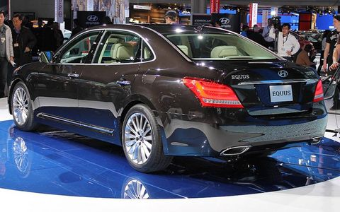 The rear of the 2014 Hyundai Equus at the New York auto show.