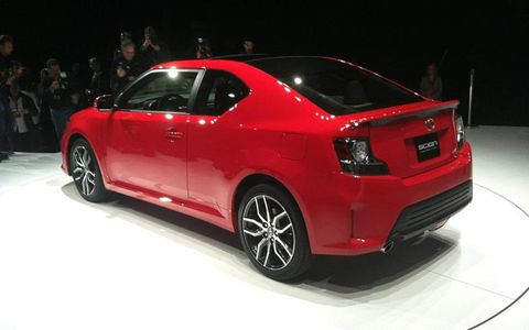 A rear view of the 2014 Scion tC on the New York auto show stand.