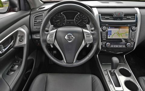 The 2013 Nissan Altima sedan has an optional navigation system that utilizes a 7-inch display.