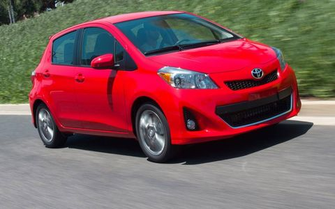 A front view of the 2012 Toyota Yaris.