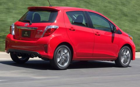 A rear view of the 2012 Toyota Yaris.