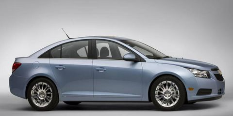 Chevrolet is touting two versions of the upcoming Cruze compact car at New York: the Cruse RS with a sporty trim package; and the Cruze Eco, which uses active aerodynamics to help achieve 40 mpg on the highway.