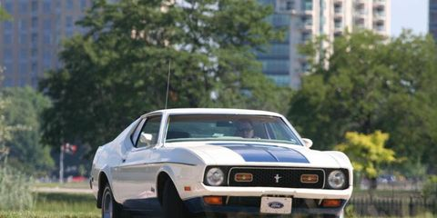 1972 Ford Mustang Sprint rounding a corner on the Chevrolet Indy Grand Prix track on Belle Isle in Detroit.