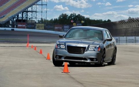 The 2012 Chrysler 300 SRT8 went through the slalom at 45.6 mph.