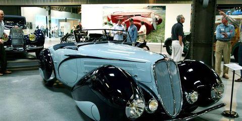 The Figoni et Falaschi pontoon-fendered 1937 Delahaye 135M Roadster