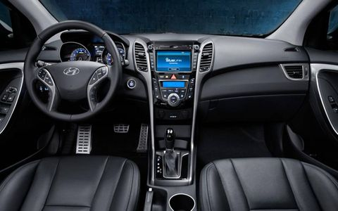 The interior of the 2013 Hyundai Elantra GT is well dressed in leather, while sporting aluminum accents on the pedals.