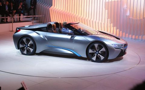 The BMW i8 spyder at the Beijing motor show.