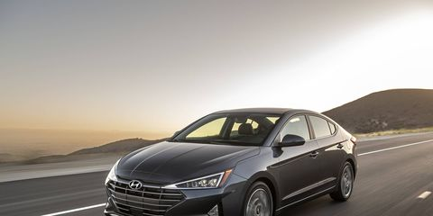 The 2019 Hyundai Elantra comes with a choice of three engines: a 147-hp 2.0-liter Atkinson four, a 128-hp 1.4-liter turbo four in the Eco and 201-hp 1.6-liter turbo four in the Sport.