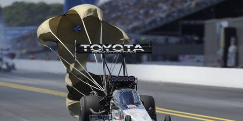 Antron Brown is the points leader in Top Fuel after his win in the opening event of the six-race NHRA Countdown.