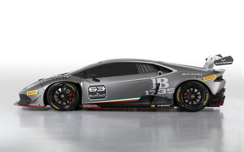 Unveiled in a world preview a few days ago during the prestigious Monterey Car Week (California, USA), the car will debut in all three series (Europe, Asia and North America) of the 2015 Lamborghini Blancpain Super Trofeo.