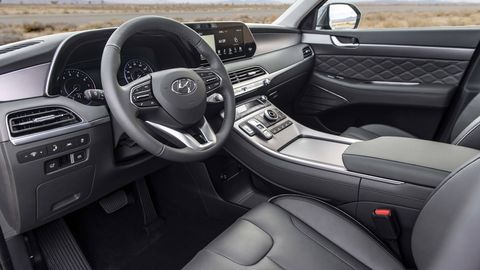 The 2020 Hyundai Palisade has three-rows, seats eight and has a built in intercom to connect the rear-row to the driver.