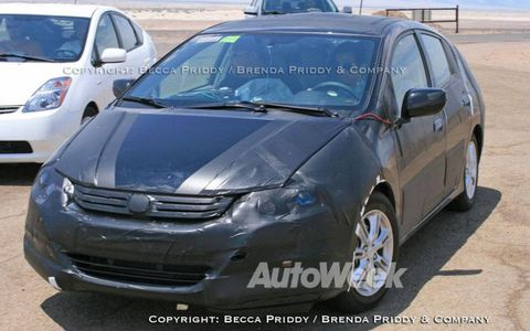 A prototype of Honda's new hybrid sedan.