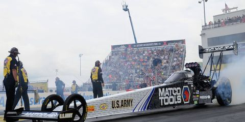 Anton Brown, shown here during last week's winning weekend at Gateway Motorsports Park in St. Louis, is the first driver to win the first three races in the NHRA Countdown to the Championship playoffs.