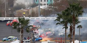 Cars crash during the Monster Energy NASCAR Cup Series Advance Auto Parts Clash at Daytona International Speedway.