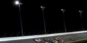 Joey Logano leads a pack of cars during the Monster Energy NASCAR Cup Series Gander RV Duel At Daytona No. 1.