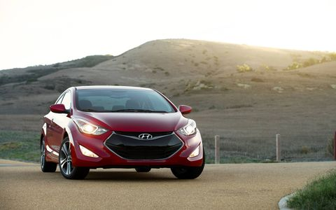 The 2014 Hyundai Elantra Coupe comes in at a base price of $19,600 with our tester topping off at $24,735.