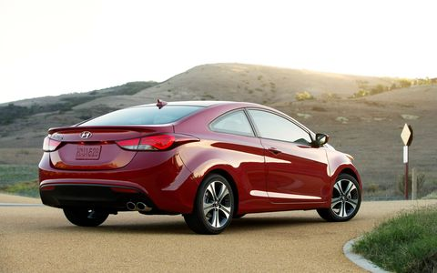 Our test 2014 Hyundai Elantra Coupe received the optional technology packaged that includes LED taillights.