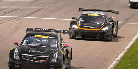 Johnny O'Connell wins for GM on Saturday in the first of a two-race Pirelli World Challenge weekend doubleheader.