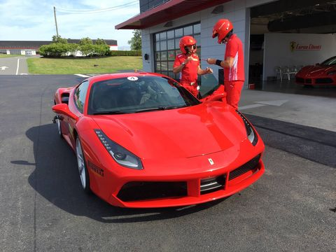 The crew at Corso Pilota is large and well organized. The cars are, well, Ferraris