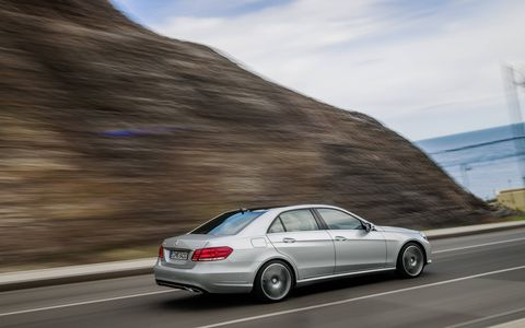 The 2014 Mercedes-Benz E550 4Matic Sedan pushes out 402 hp with 443 lb-ft of torque.