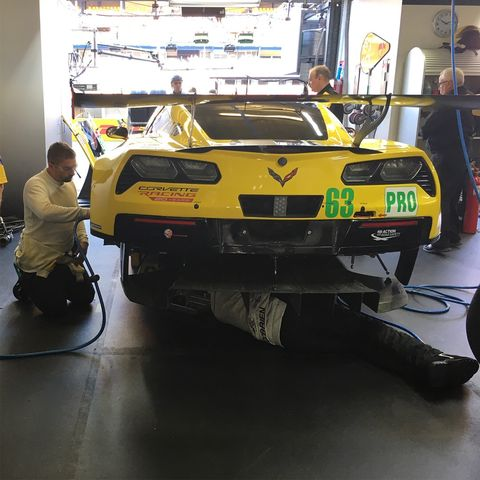 Inside the Corvette Racing garage at the 2018 24 Hours of Le Mans