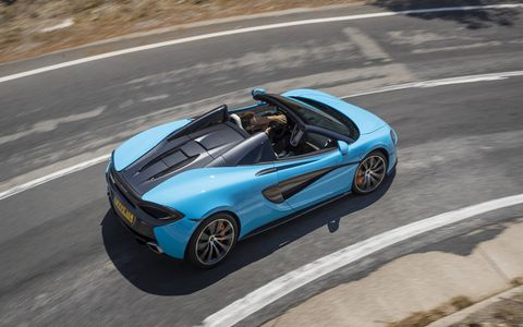 The 570S Spider makes 562 hp and 443 lb-ft of torque on its way to a 204 mph top speed.