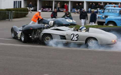 A crash at the 73rd Goodwood Members' Meeting badly damaged the one-off 1955 Mercedes-Benz 300 SLS ''Porter Special' and a rare 1959 Lister-Jaguar. Both drivers -- F1 legend Jochen Mass and amateur Tony Wood, respectively -- escaped unharmed, but the cars will need substantial restoration work.