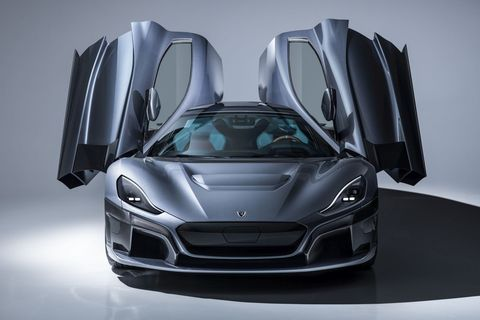 This is the Rimac C_Two that may or may not be similar to the coming Automobilia Pininfarina Battista. The Battista will use the C_Two's four electric motors and drivetrain, for sure, and the two companies have agreed to cooperate on the new car.