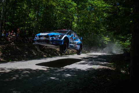 David Higgins and Craig Drew took the overall win at the 2018 New England Forest Rally by a margin of six and a half minutes over Jeff Seehorn and Karen Jankowski.