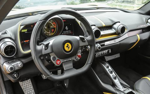 The interior of the 812 Superfast is an enjoyable place to be in for both long highway stints and fast laps.