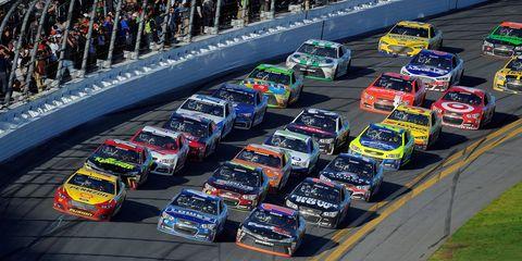 There was plenty of three-wide racing at Daytona International Speedway on Sunday.