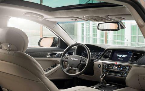 The interior of the 2015 Hyundai Genesis 5.0 Sedan lives up to the car's luxury billing.
