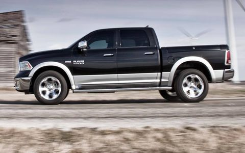 A side view of the 2013 Ram pickup.